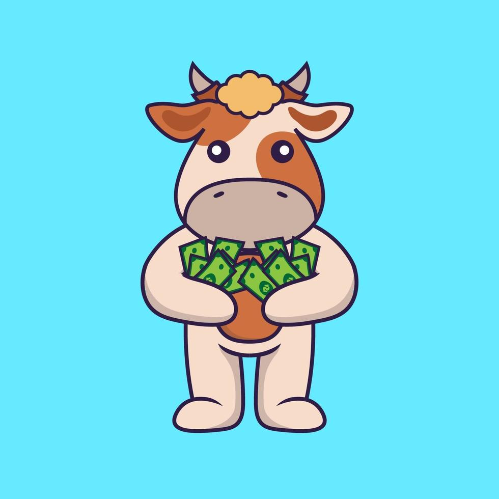 Cute cow holding money. vector