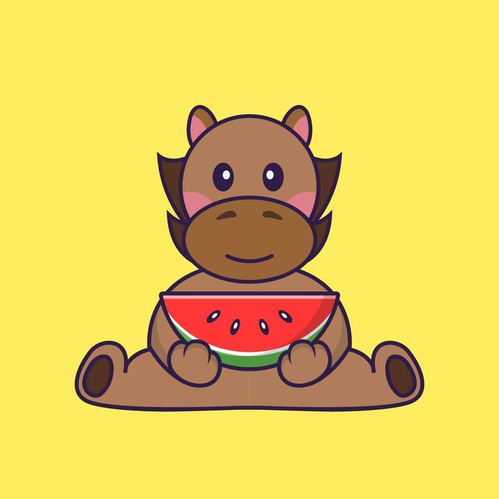 Cute horse eating watermelon. vector