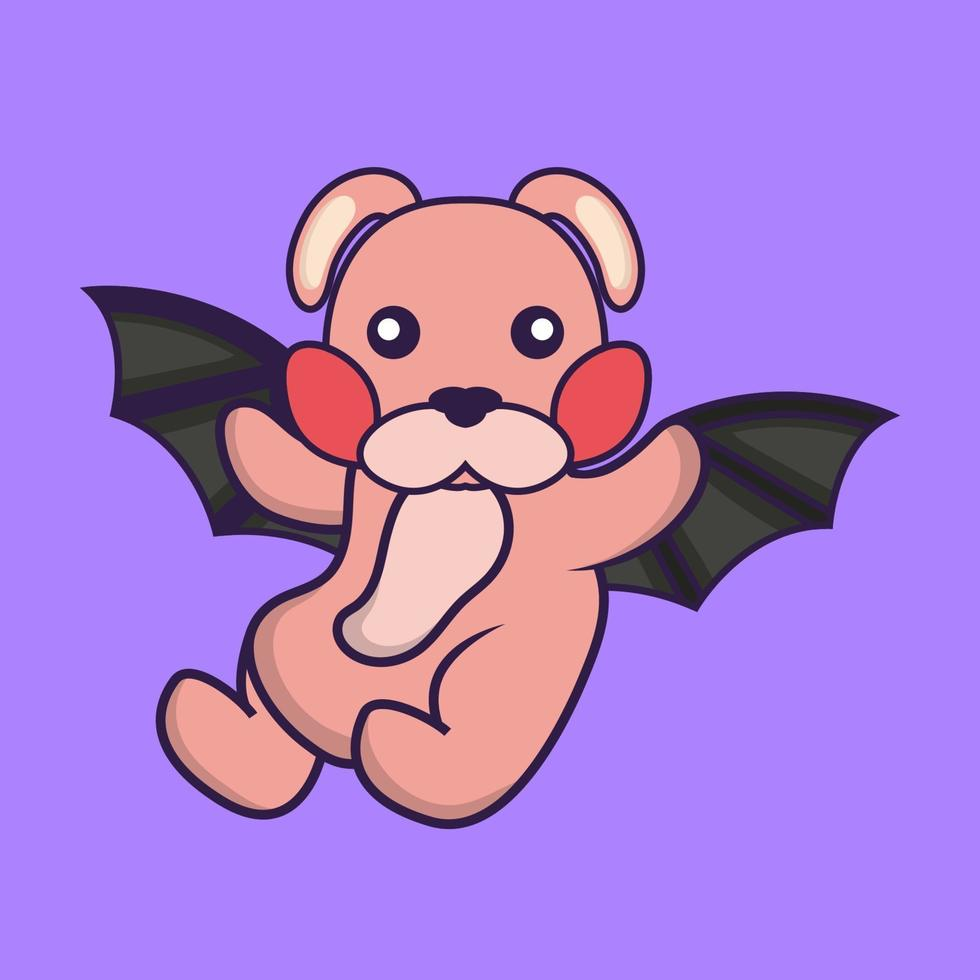 Cute rabbit is flying with wings. vector