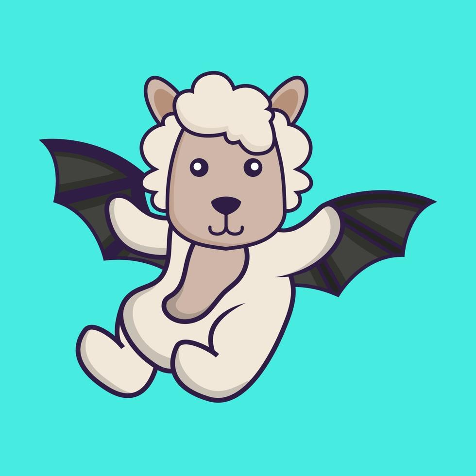 Cute sheep is flying with wings. vector