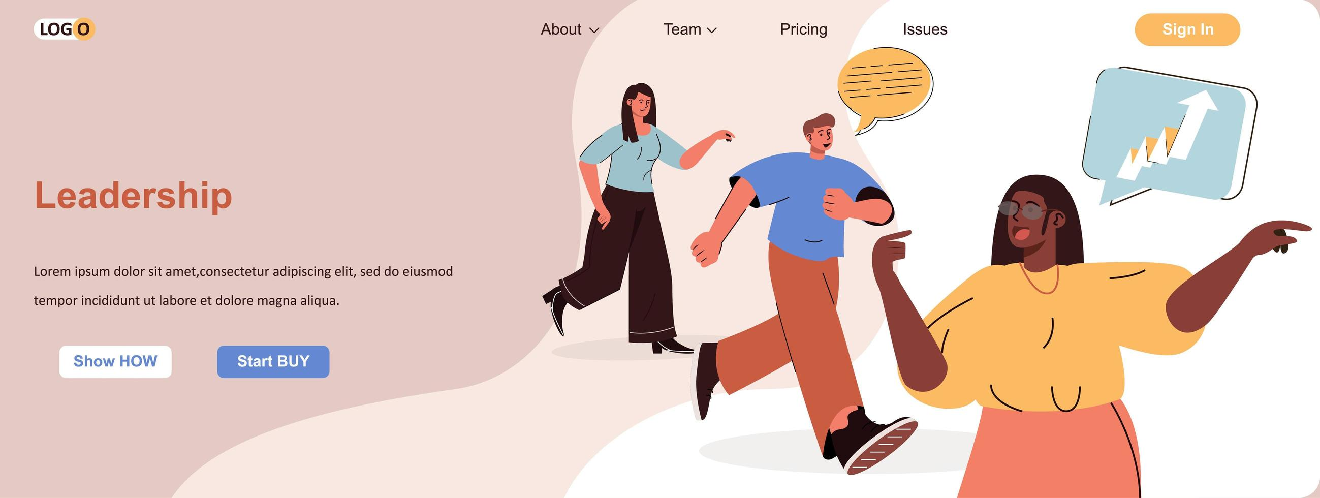 Leadership web banner for social media promotional materials vector