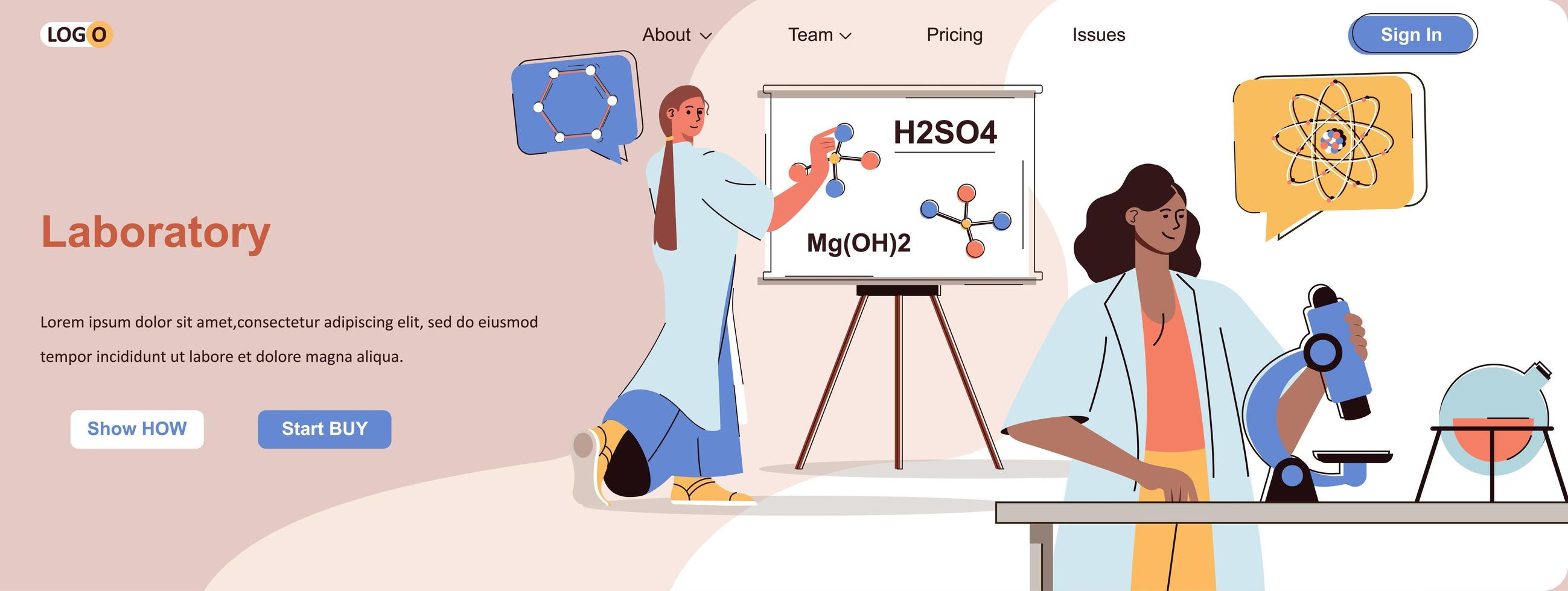Laboratory web banner for social media promotional materials vector