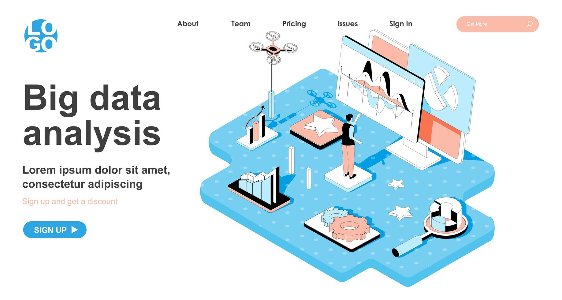 Big data analysis isometric concept for landing page vector