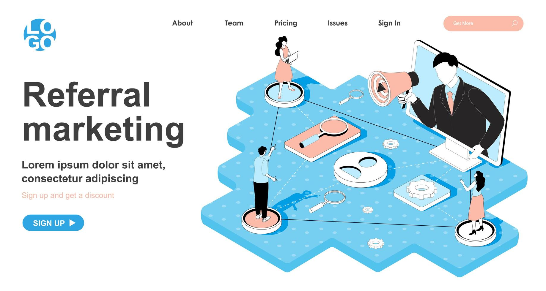 Referral marketing isometric concept for landing page vector