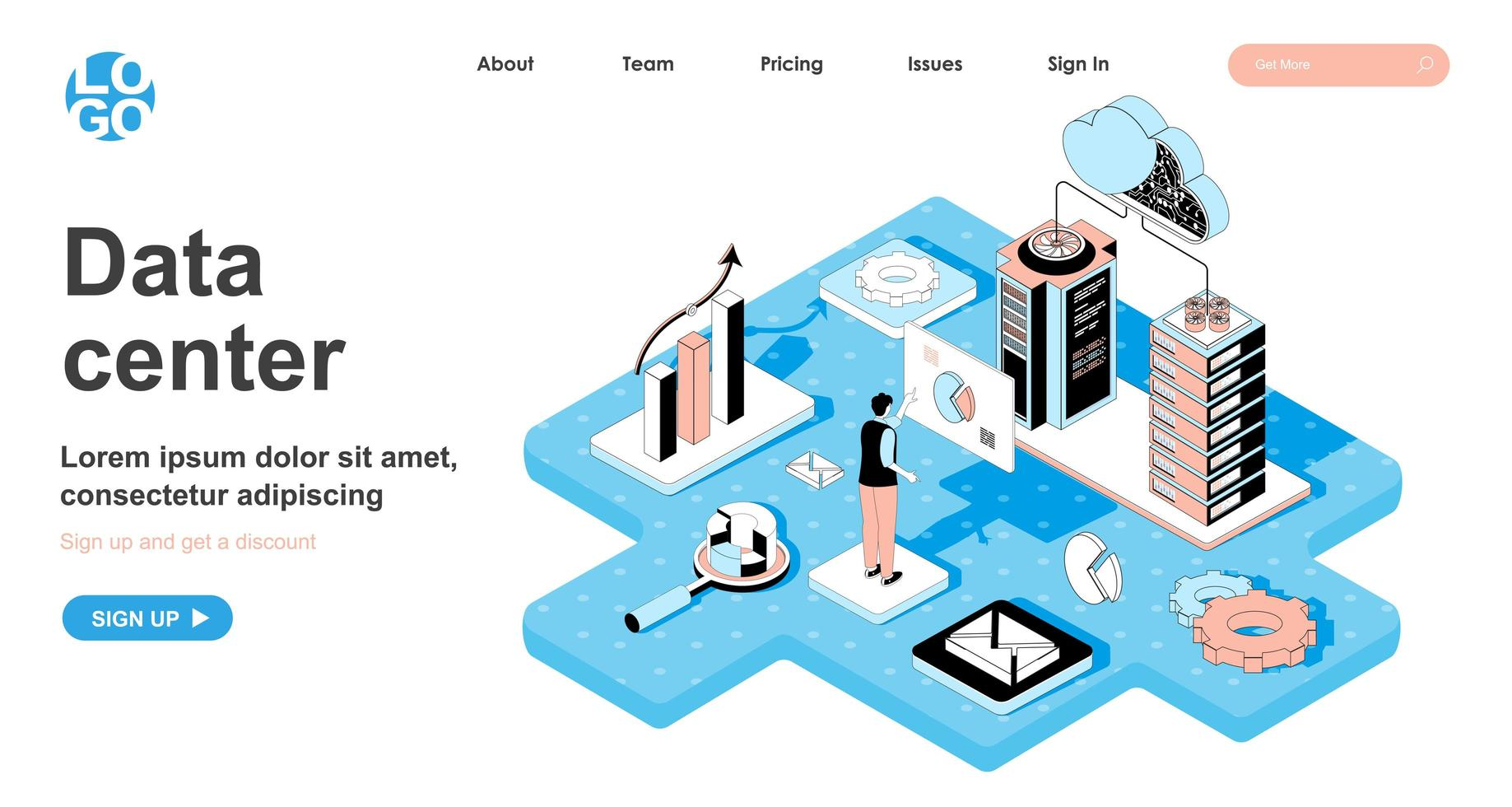Data center isometric concept for landing page vector