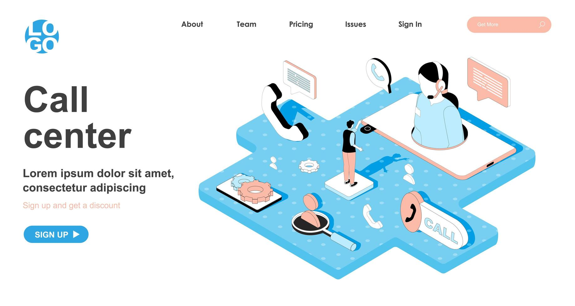 Call center isometric concept for landing page vector