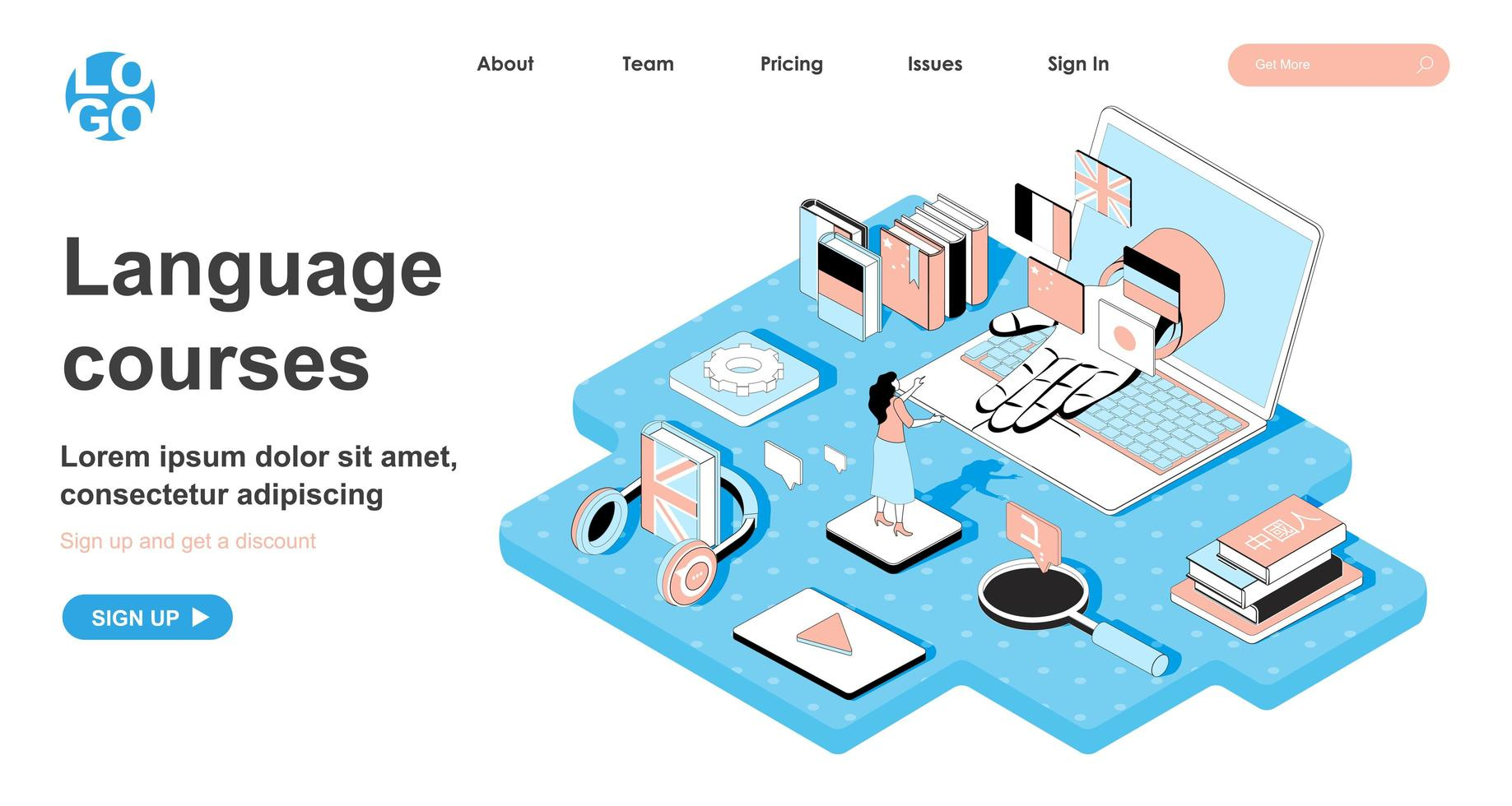 Language course isometric concept for landing page vector