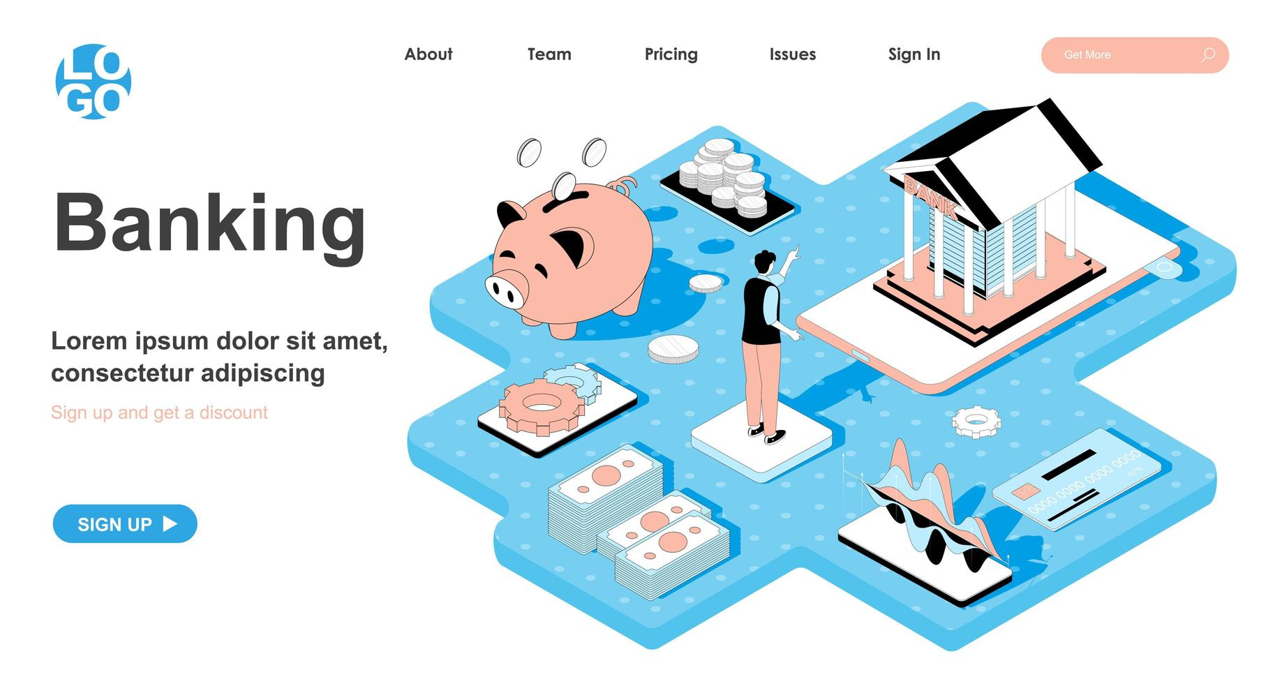 Banking isometric concept for landing page vector