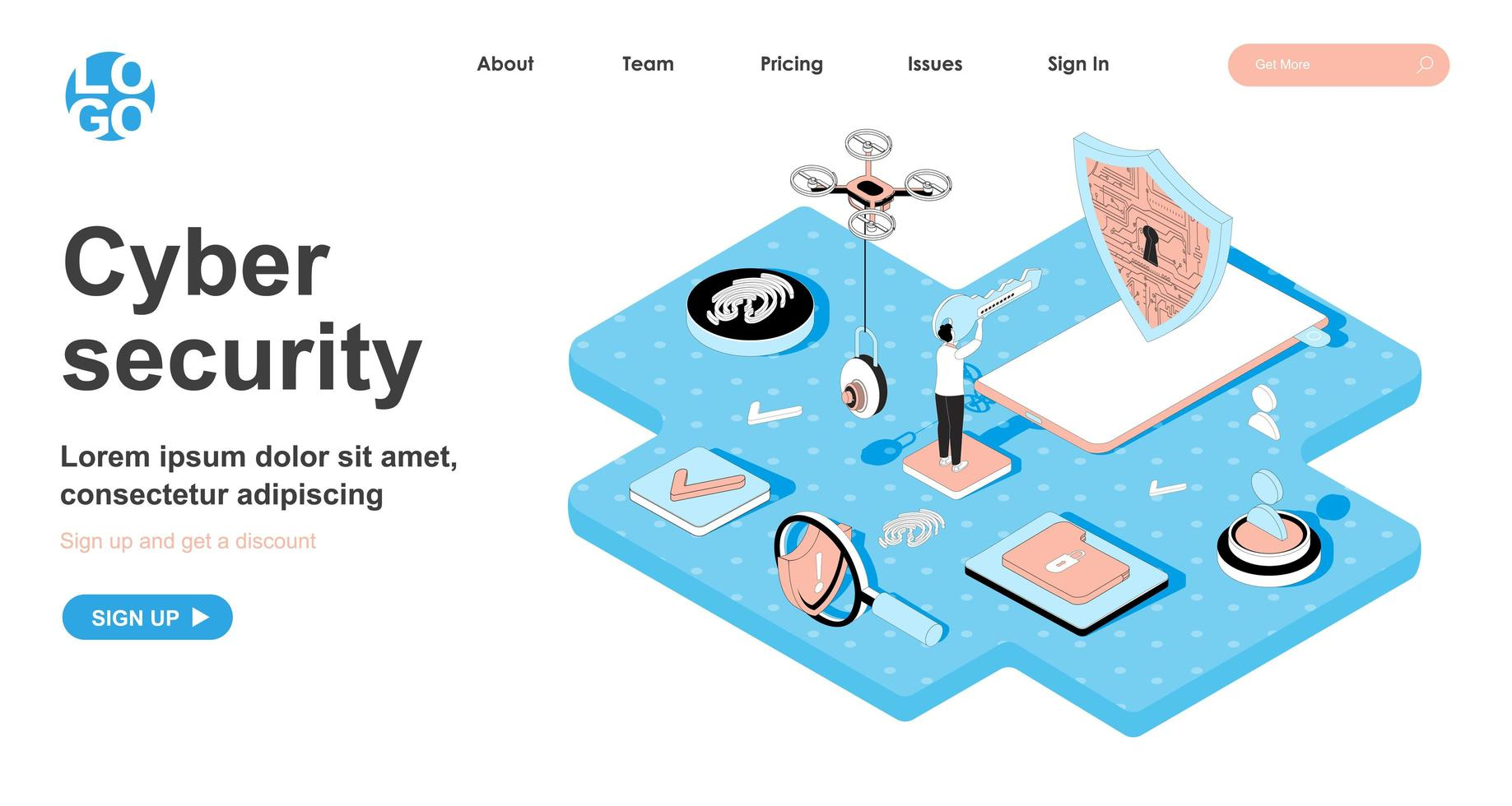 Cyber security isometric concept for landing page vector