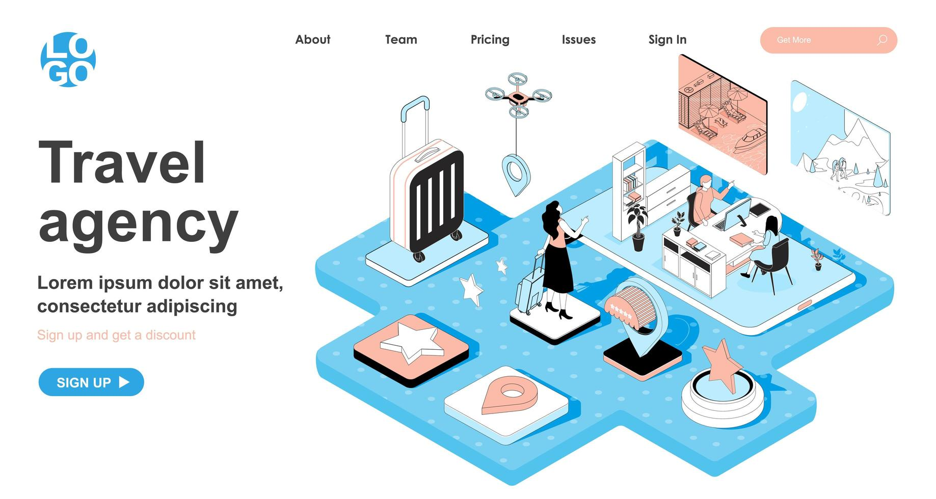 Travel agency isometric concept for landing page vector