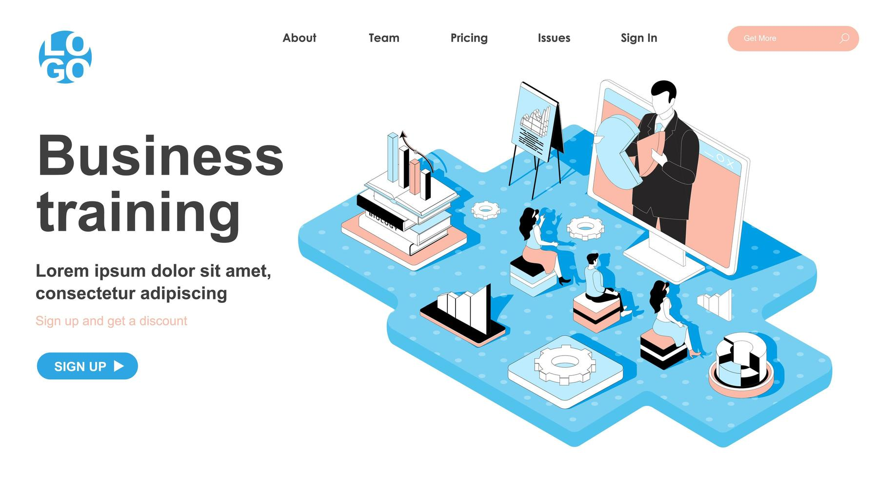 Business training isometric concept for landing page vector