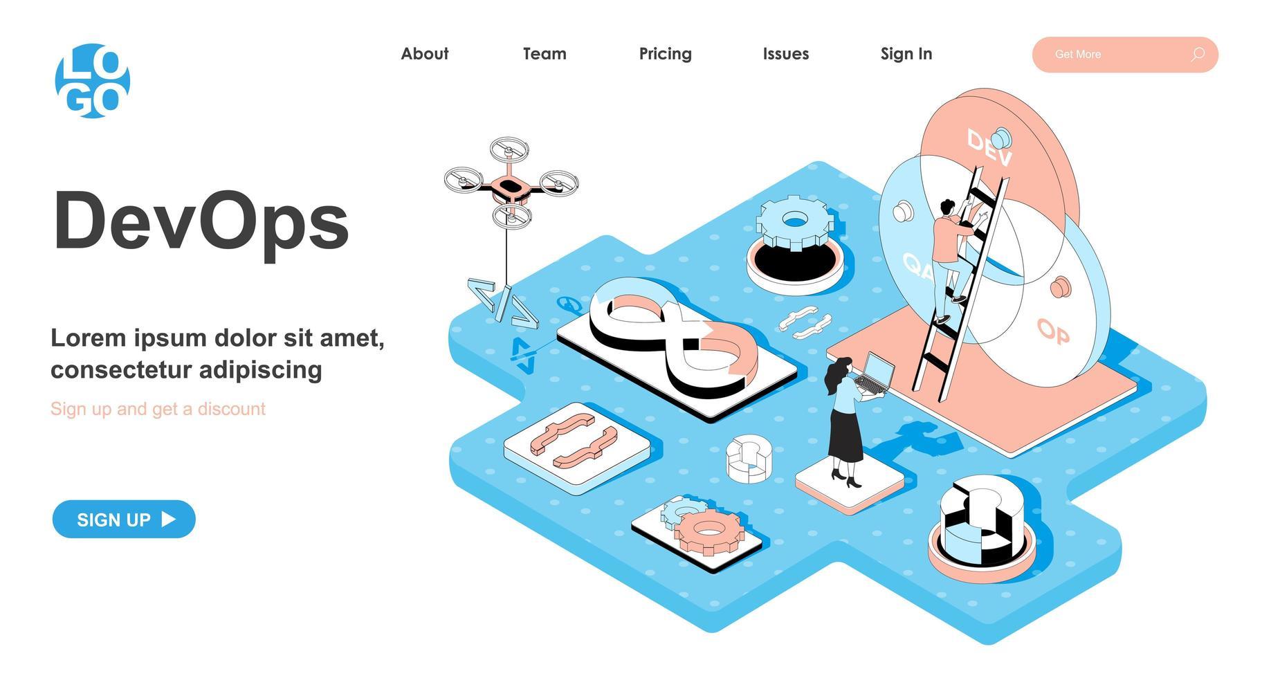 DevOps isometric concept for landing page vector