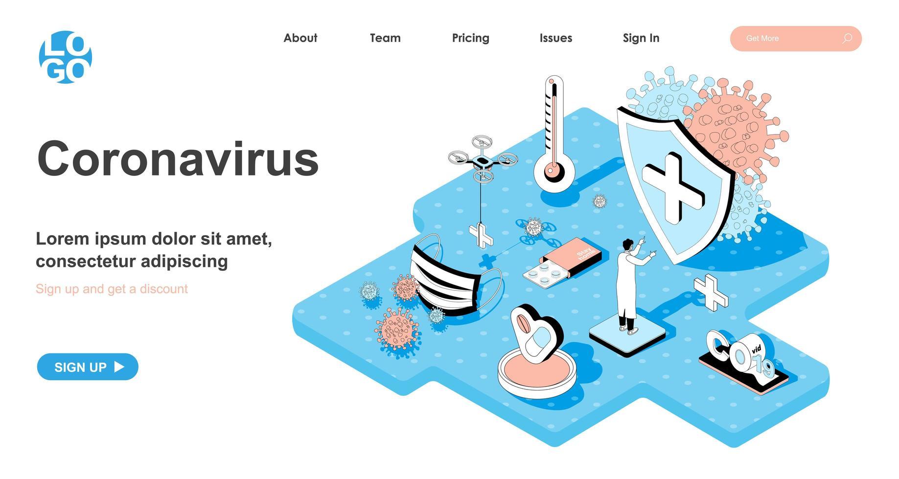 Coronavirus isometric concept for landing page vector