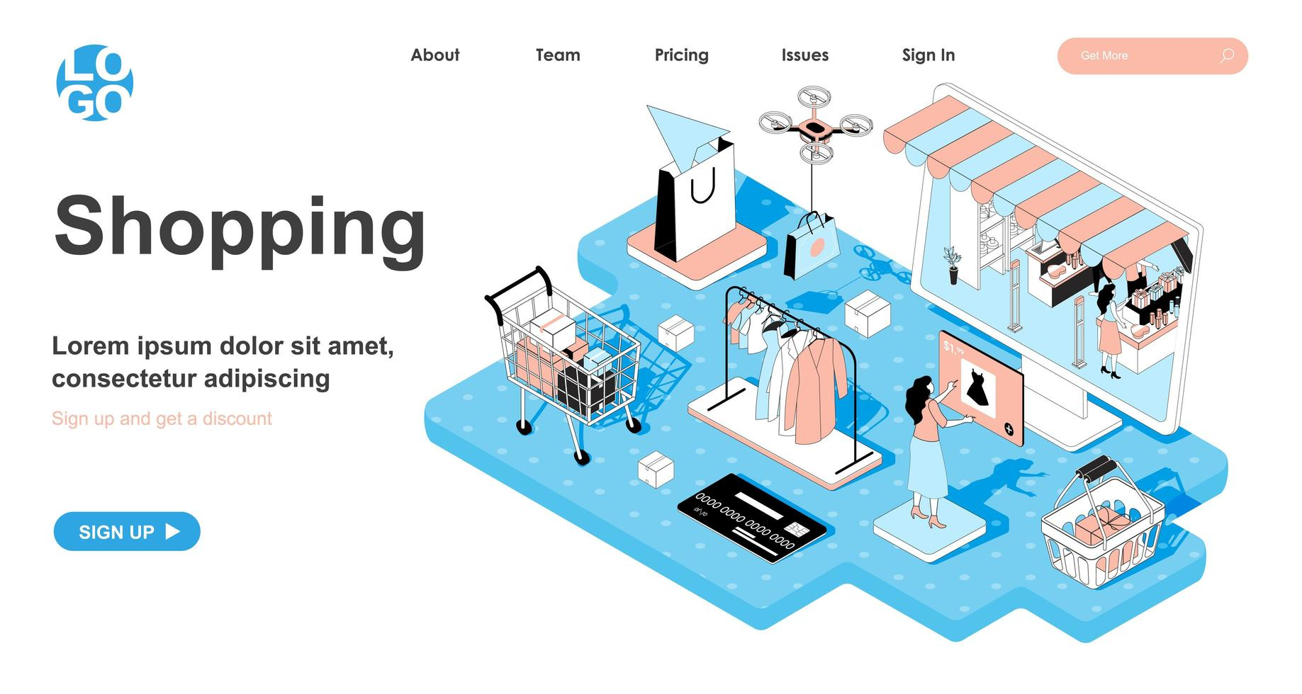Shopping isometric concept for landing page vector