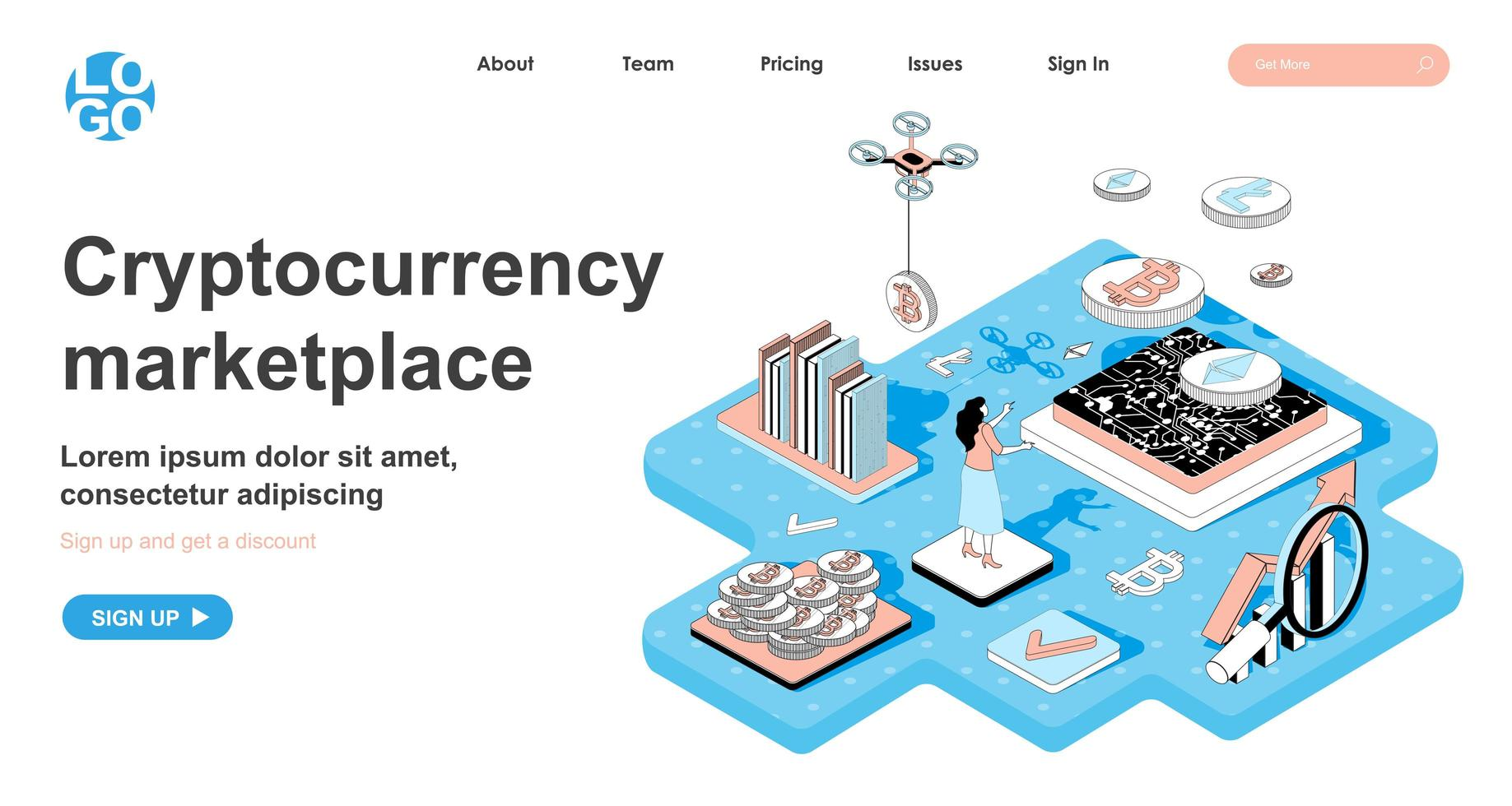 Cryptocurrency marketplace isometric concept for landing page vector