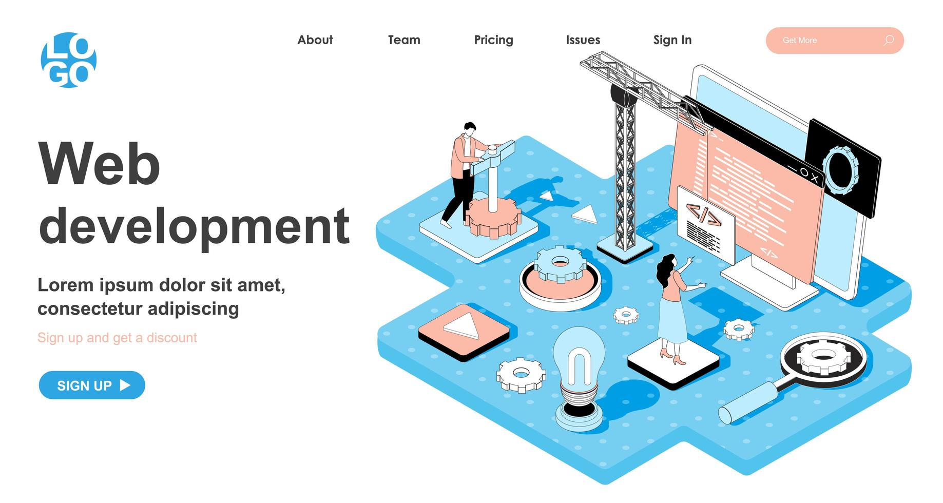 Web development isometric concept for landing page vector