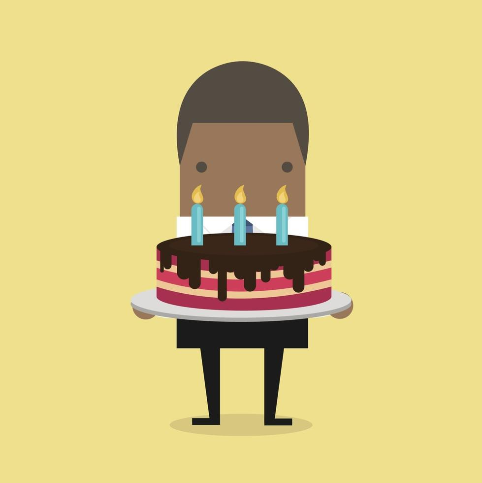 African businessman with a big cake. vector