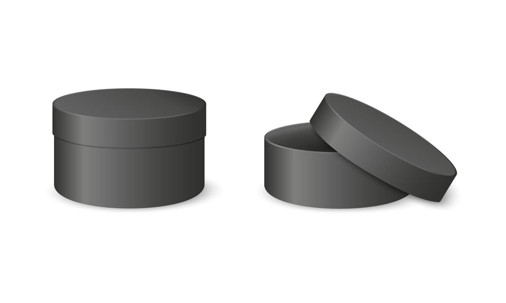 Black round cardboard boxes. Closed and open cylinder packages vector