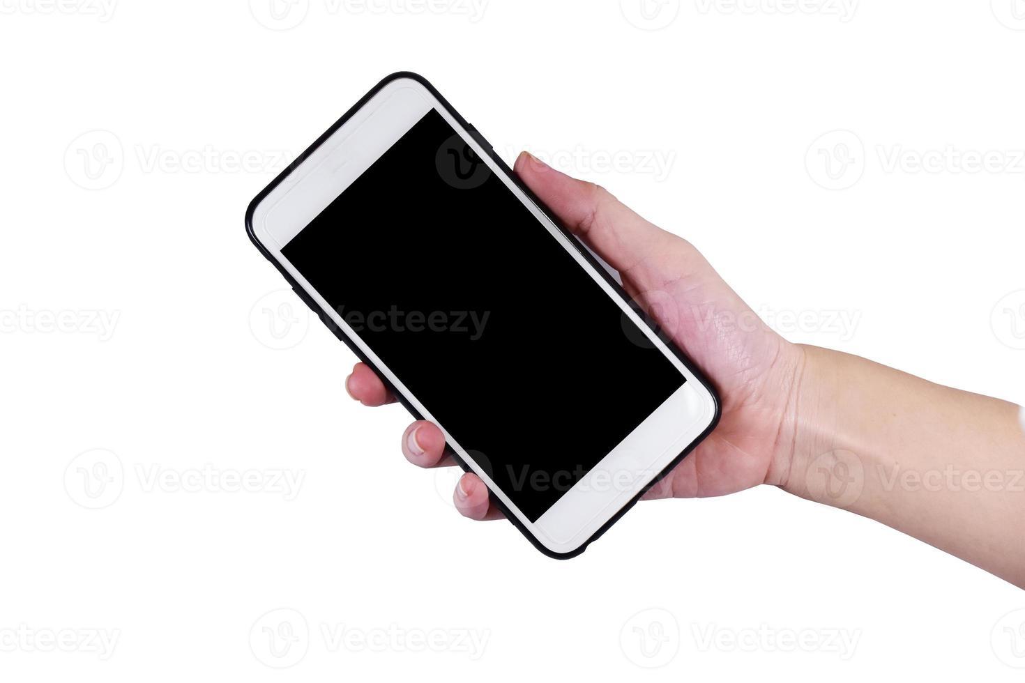 Hand hold smartphone mock up photo