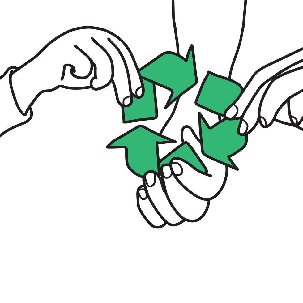 hand of family holding recycle sign vector