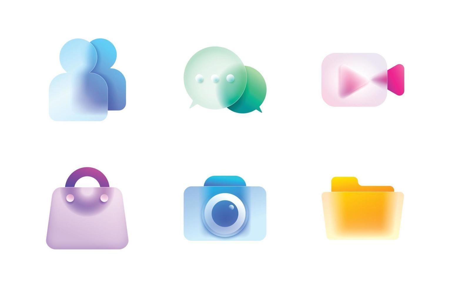 Glassmorphism Icon Buttons Set vector