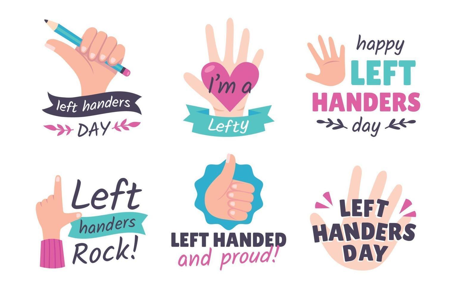 Left Handers Day Sticker Collection vector