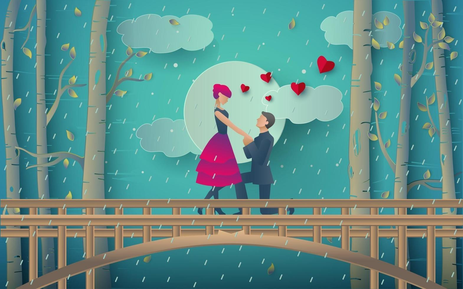 Illustration of romantic couple in the rainy forest vector