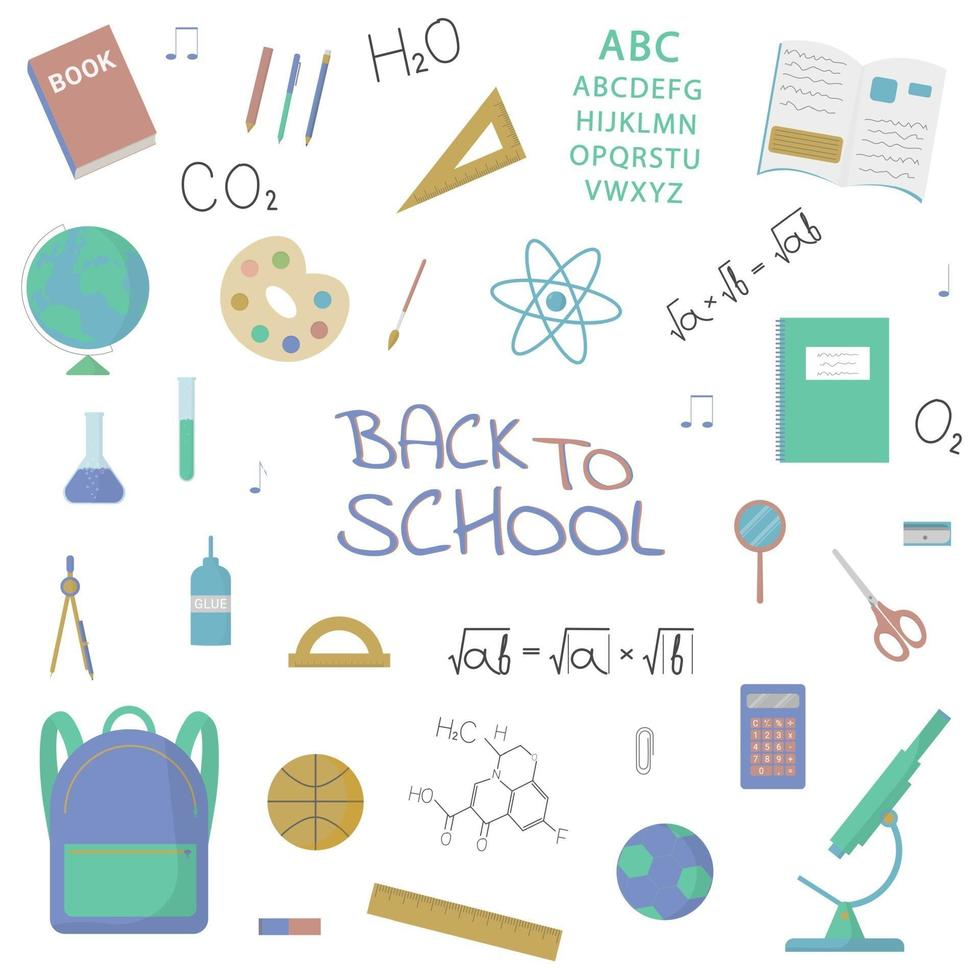 School objects and subjects collection. Isolated vector items.