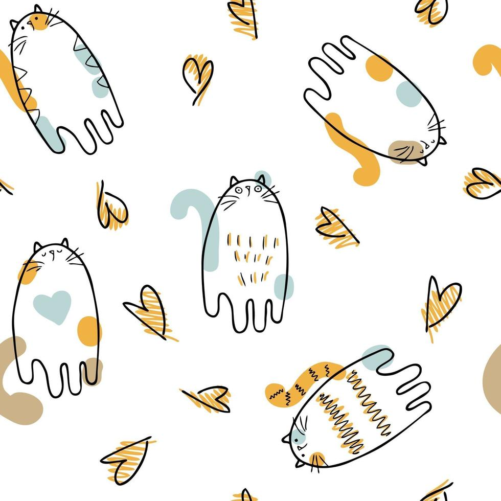 Doodle vector seamless pattern of three-colored cats