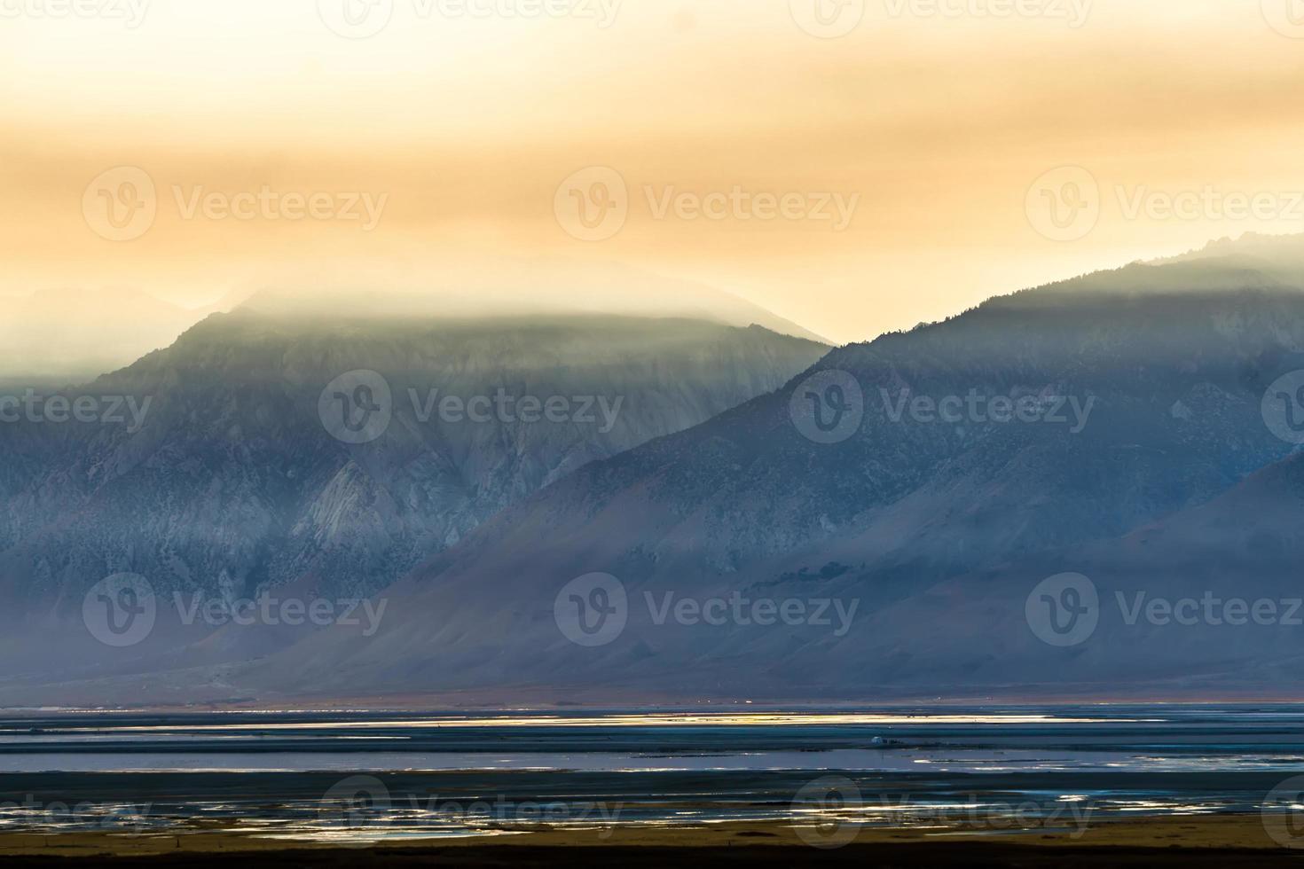 surreal Owens Lake at sunset in California Usa photo