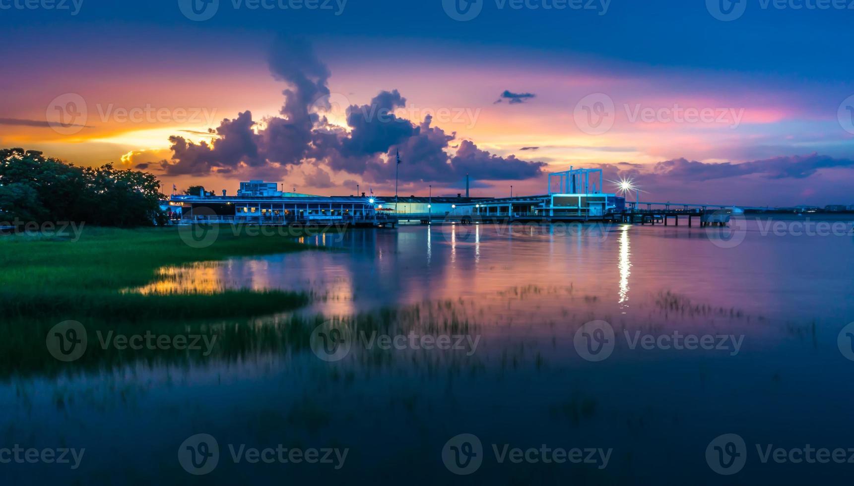 charleston south carolina harbor in the evening photo