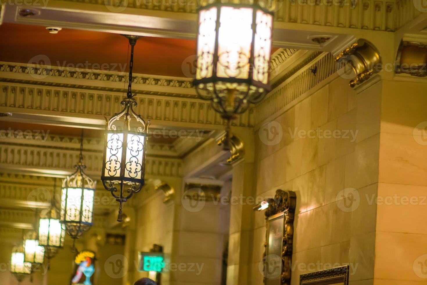 Luxury histric hotel lobby interior photo