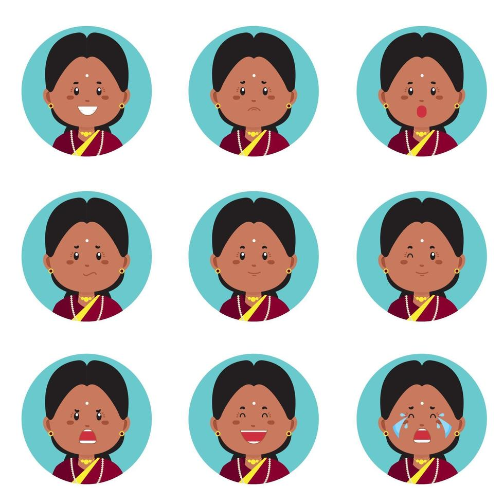 Indian Avatar With Various Expression vector