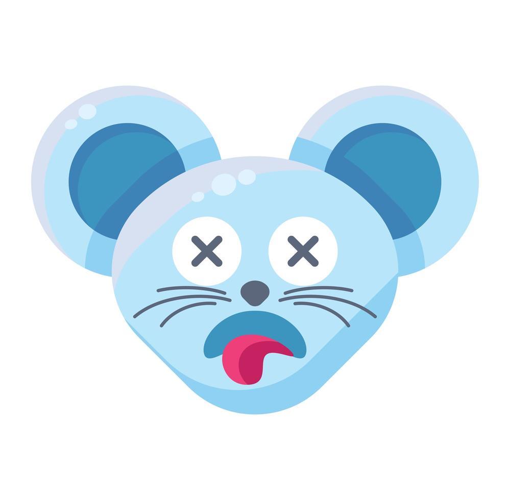 Mouse face dead emoticon sticker vector
