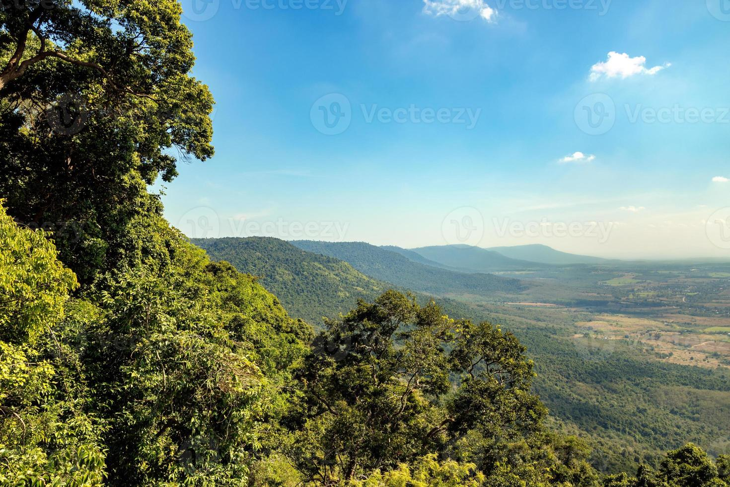 Tropical forest landscape with mountain and blue sky background photo