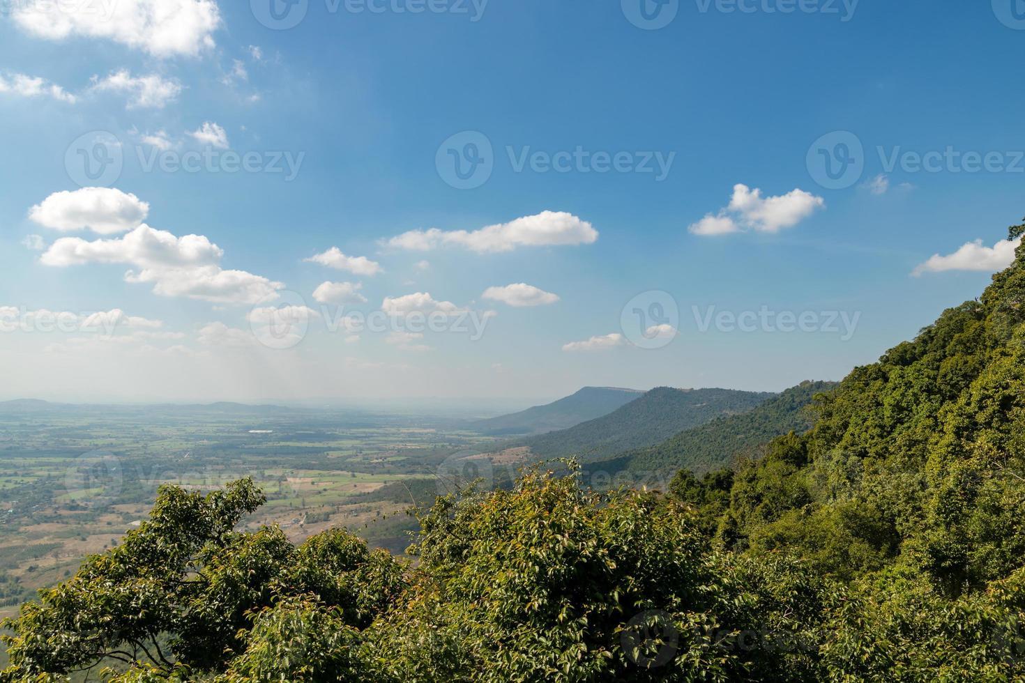 Tailandia paisaje de bosque tropical con fondo de cielo azul y montaña foto