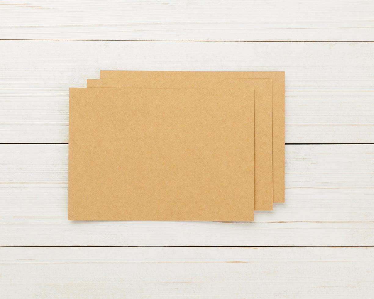 Invitation card mockup, blank craft greeting card template. photo
