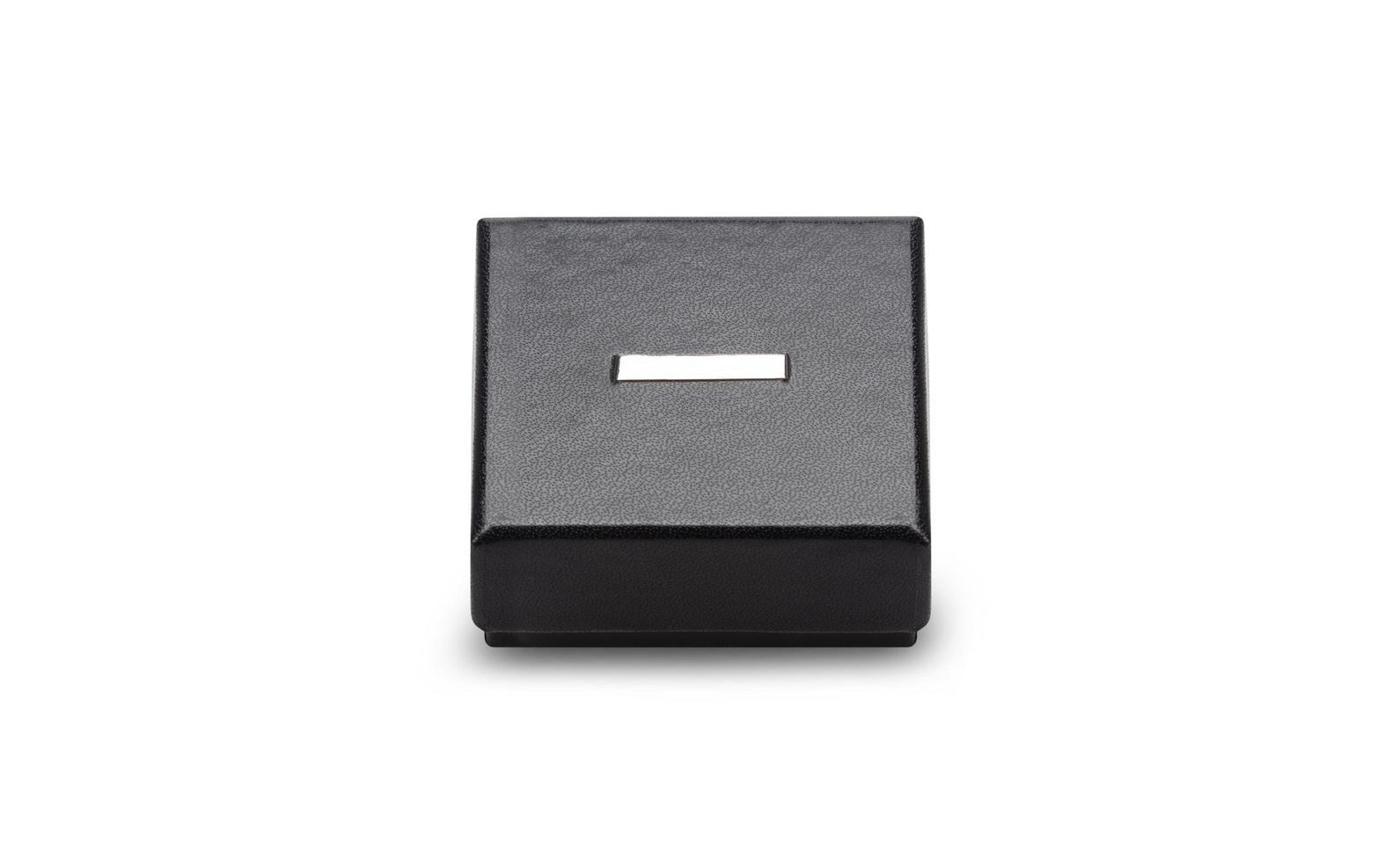 Black gift box isolated on white background photo