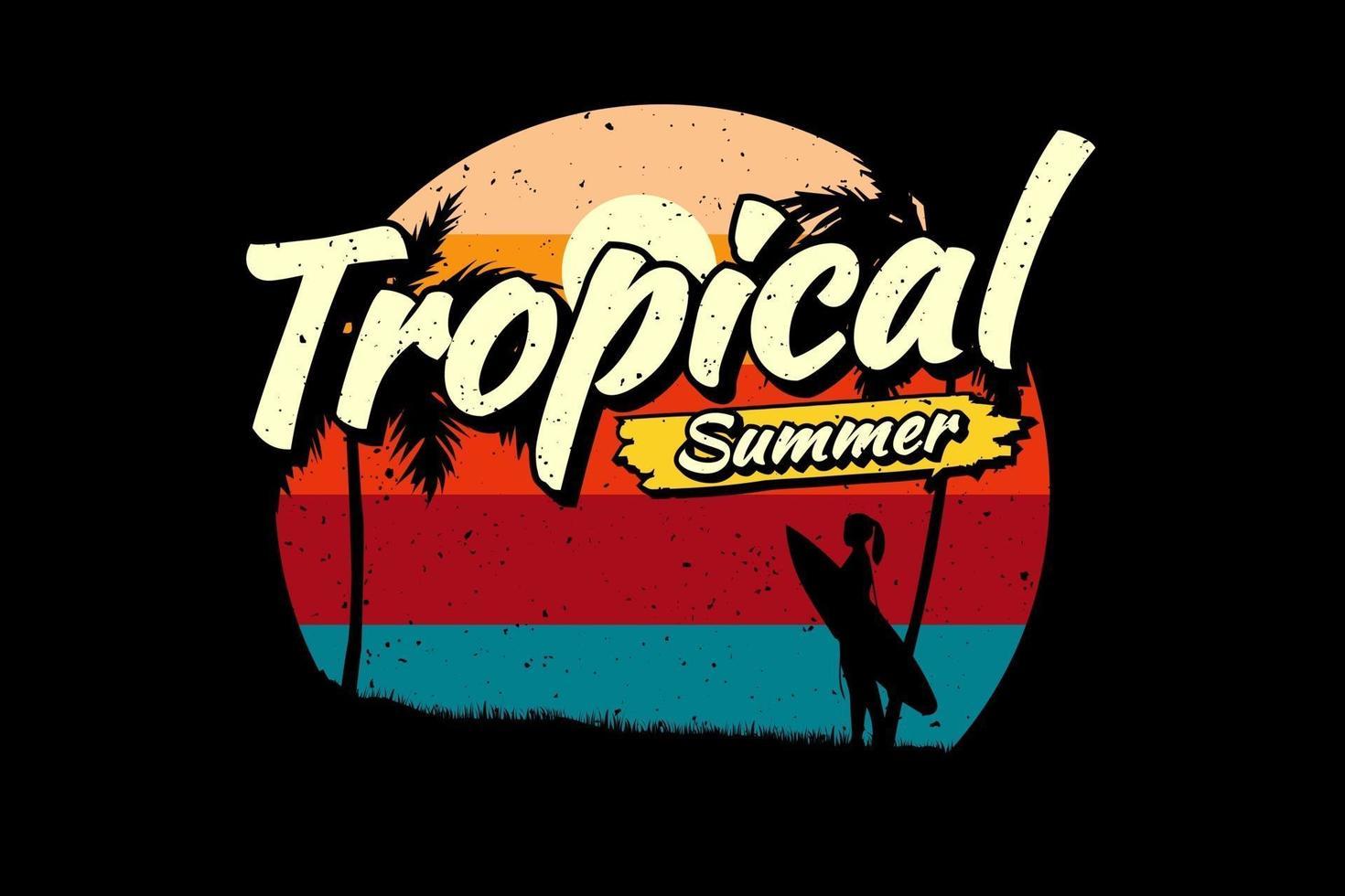 T-shirt tropical summer surfing beach vector
