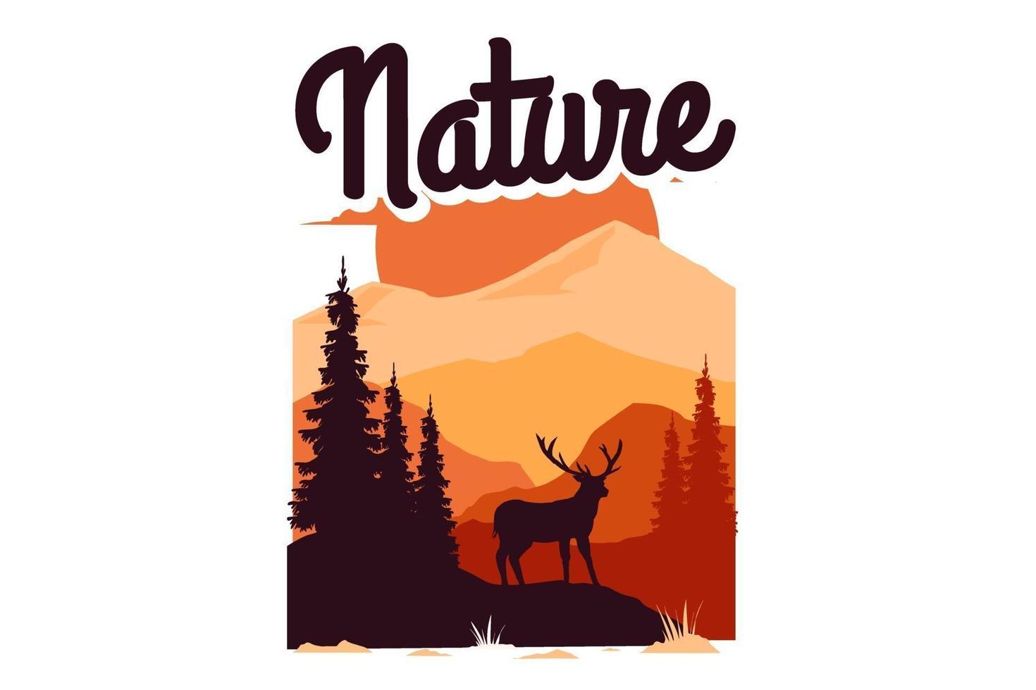 T-shirt explore nature mountain vintage ilustation vector