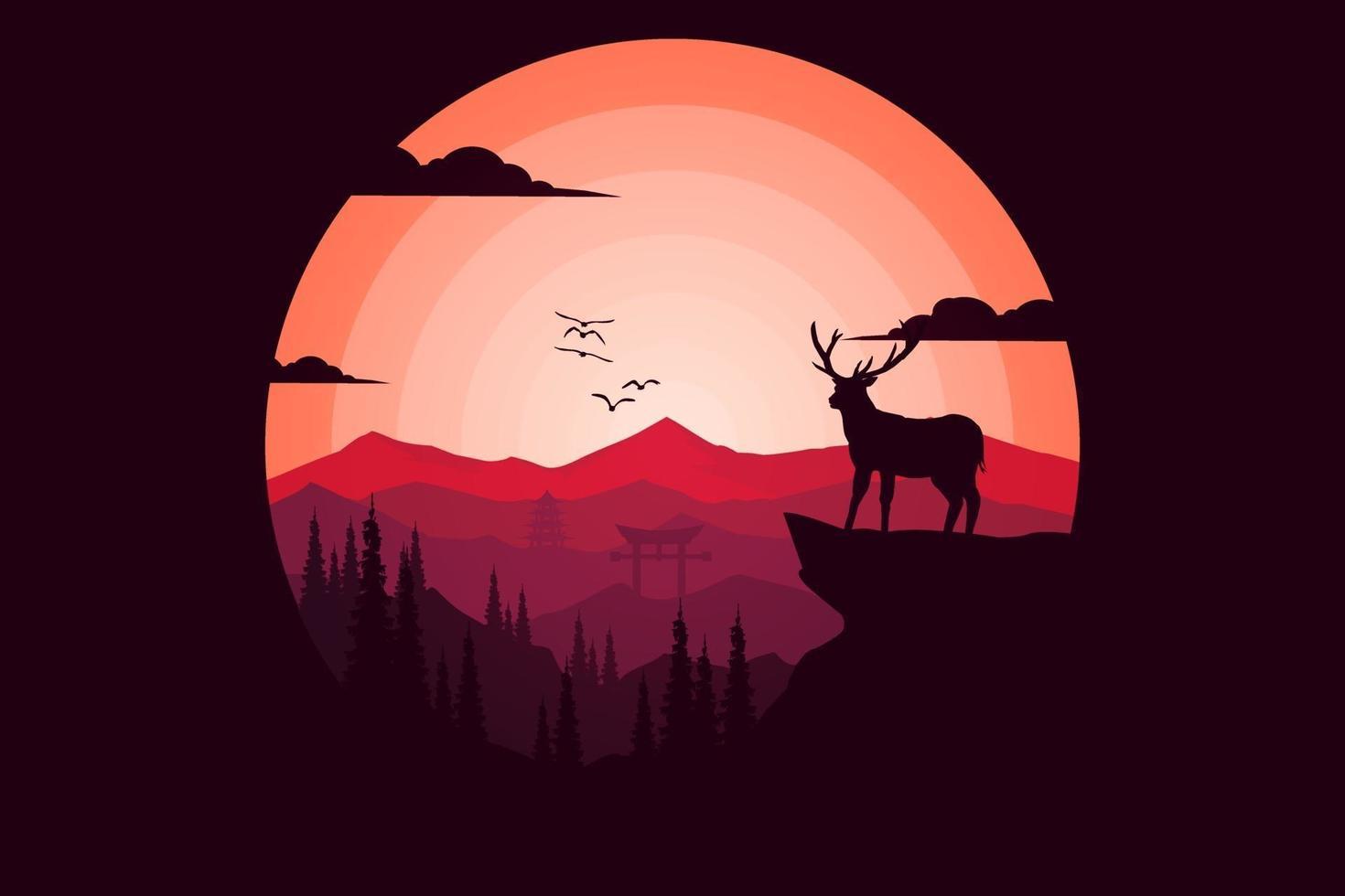 T-shirt tropical summer mountain deer pine nature vector