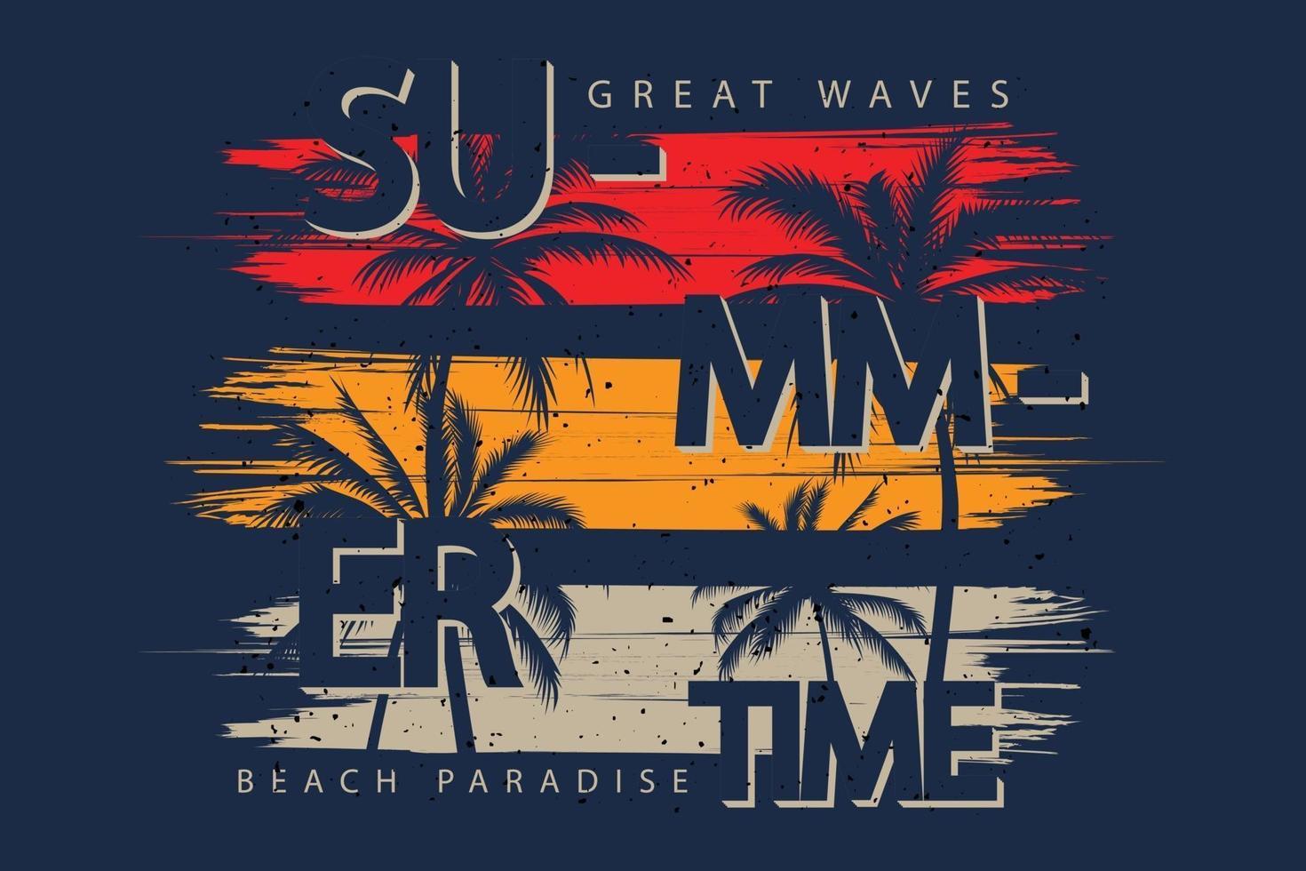 T-shirt design of summer great waves beach vector
