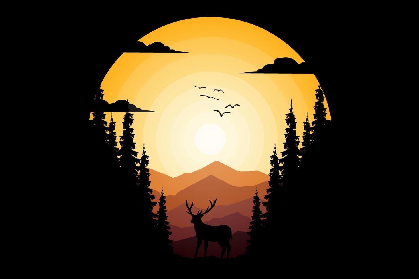 T-shirt nature deer mountain pine beautiful sky vector