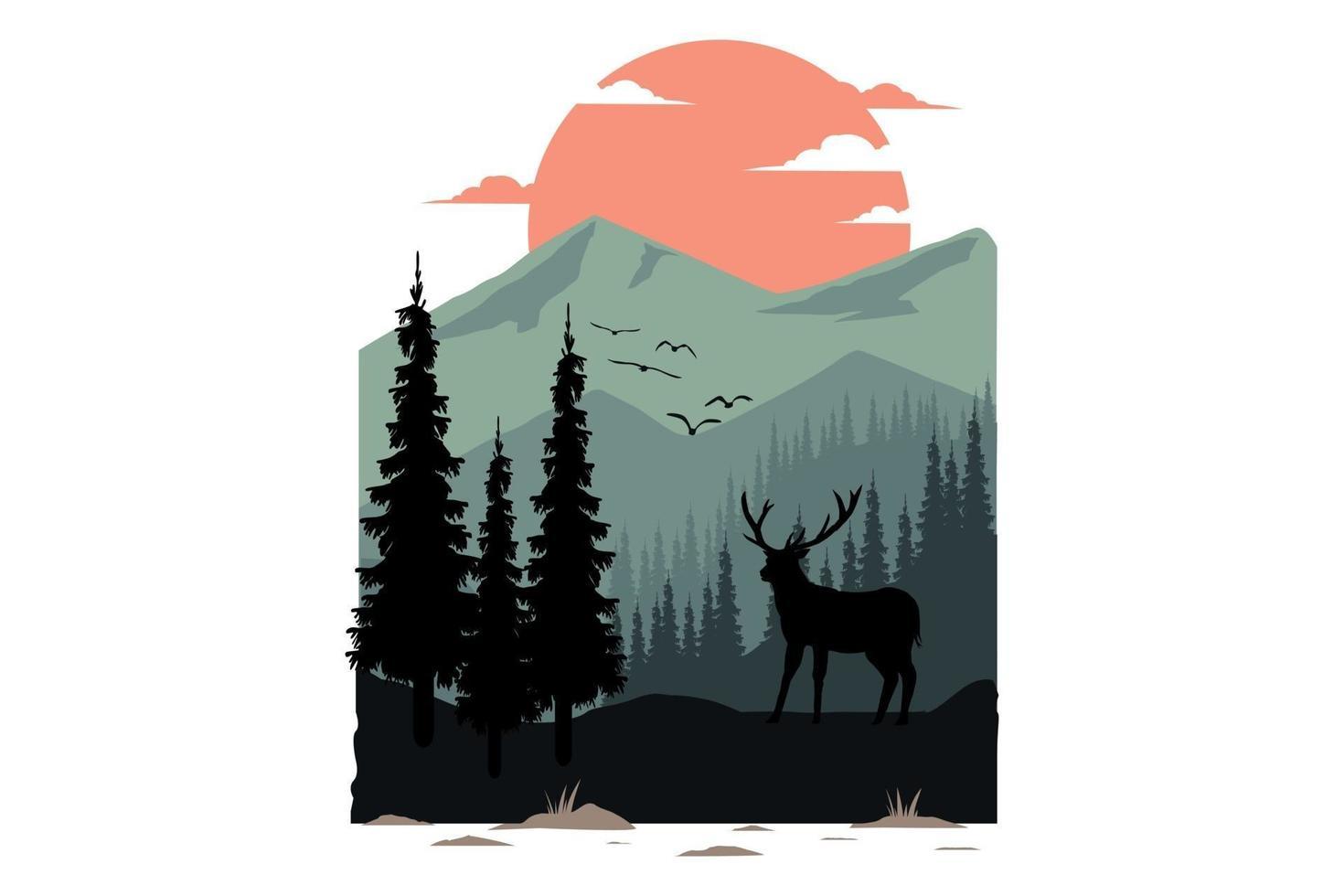 T-shirt design of mountain flat deer nature vector