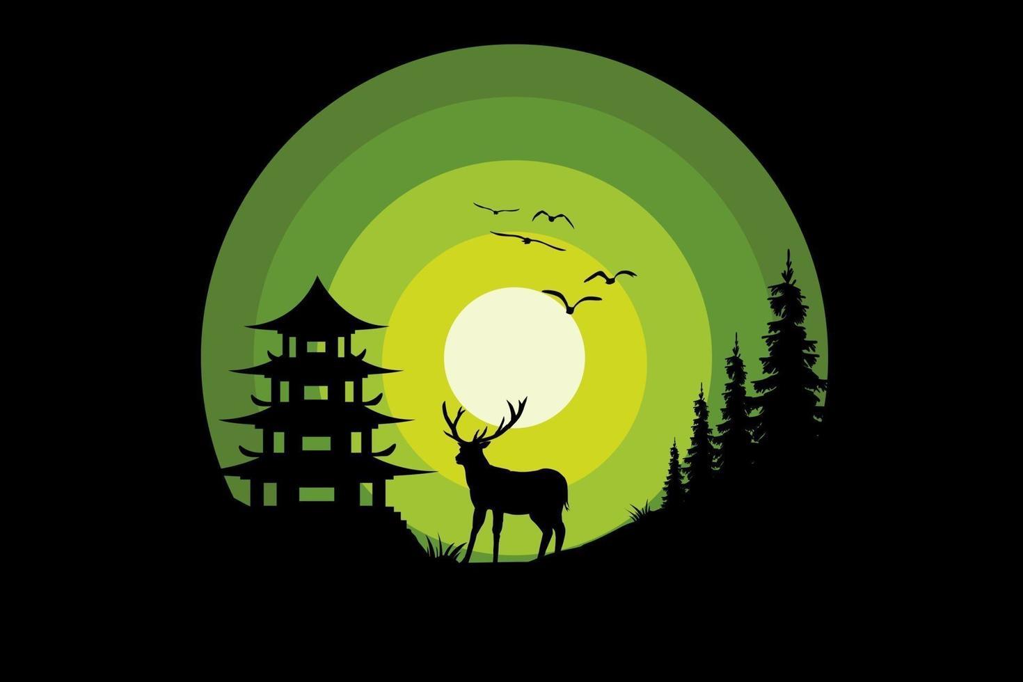 T-shirt nature night deer pine green vector