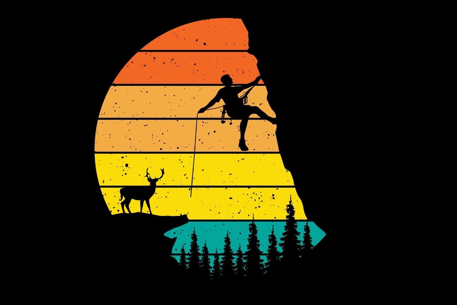 T-shirt hiking deer mountain pine style illustration vector