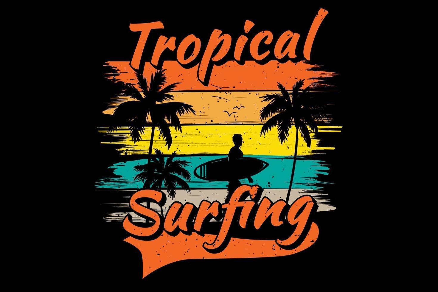 T-shirt tropical surfing pine tree beach vector