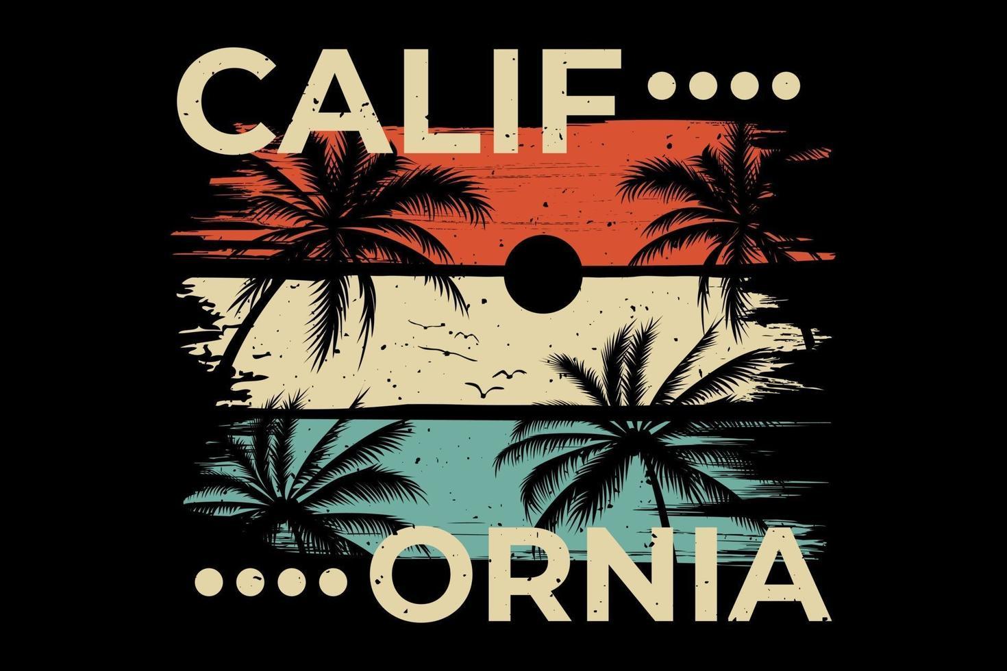 T-shirt design of california beach palm tree summer vector
