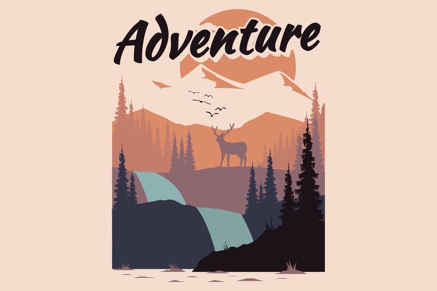 T-shirt design of adventure deer pine tree mountain vector