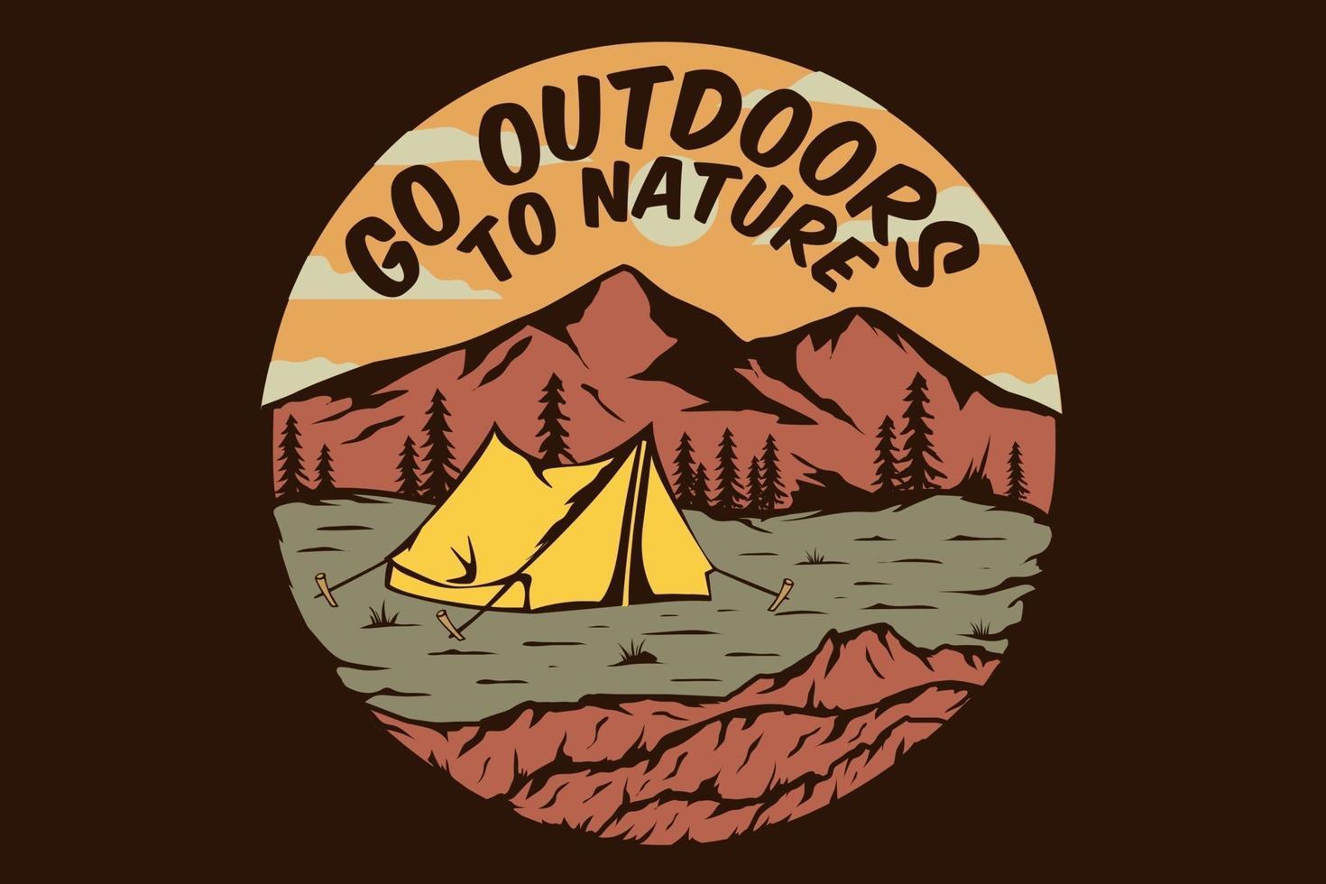 T-shirt outdoors nature camping mountain vector